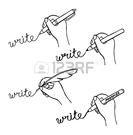 443x450 Hand Holding Pencil Sketch Isolated On White Background Vector