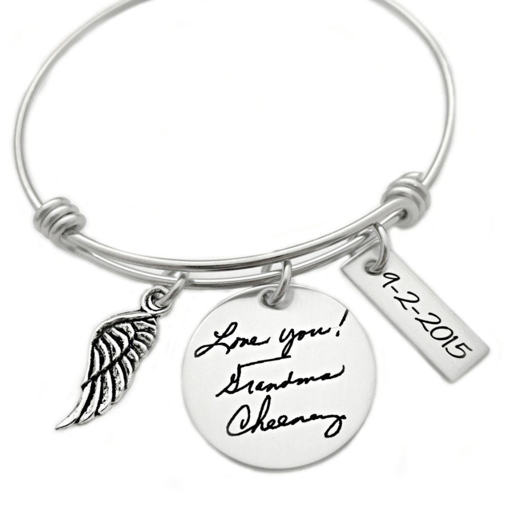 1024x1024 Handwriting Bangle Bracelet Memorial Grieving Jewelry And Gifts