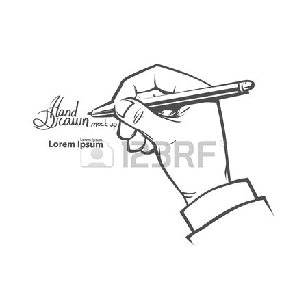 450x450 Writing Hand With Ink Pen, Drawing Left Hand, Hand Drawn Vector