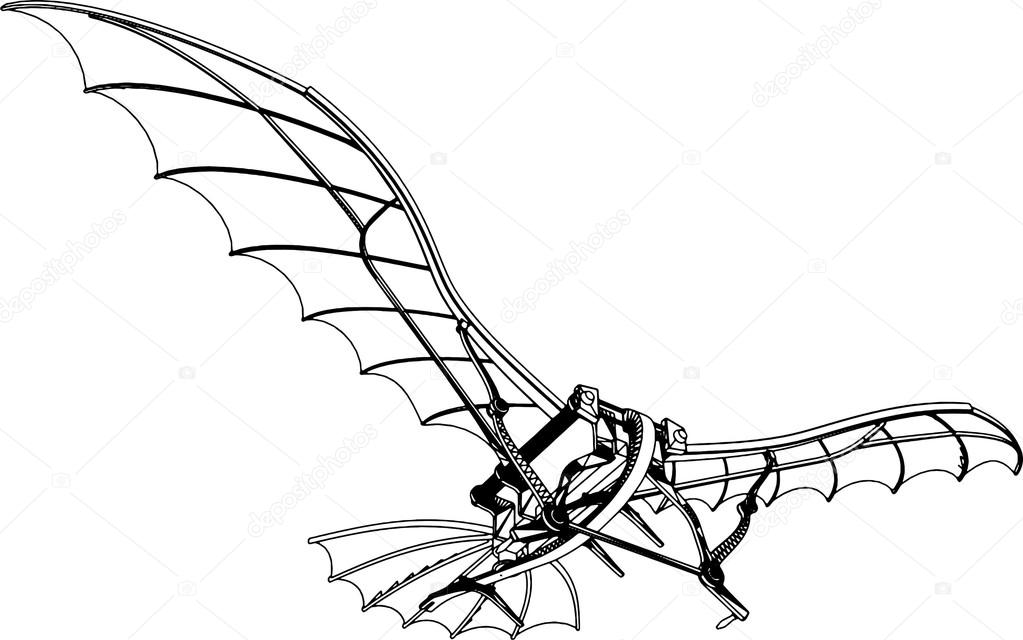 1023x640 Flying Machine Leonardo Hang Glider Vector Stock Vector