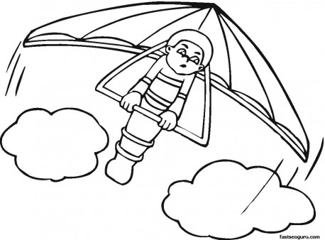 458x338 Kids Coloring Pages Hang Glider Print Out