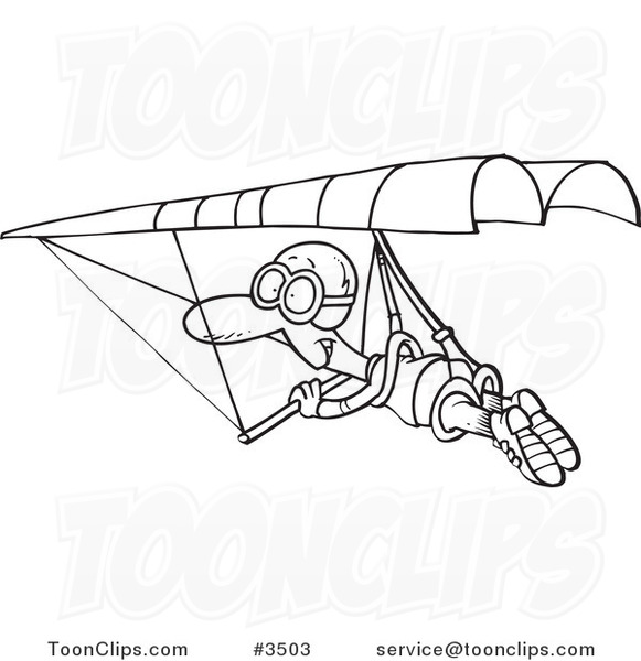 581x600 Cartoon Black And White Line Drawing Of A Guy Hang Gliding