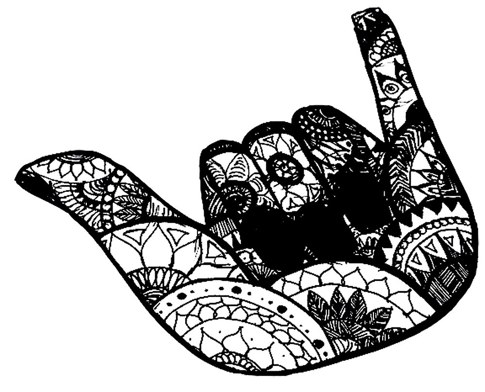 1000x809 Hang Loose Zentangle By Ayseart Un Redbubble