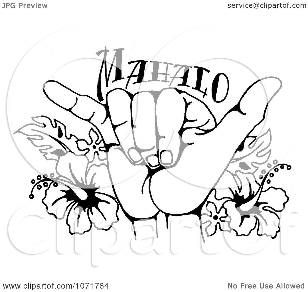 1080x1024 Clipart Black And White Hang Loose Shaka Hand And Hawaiian