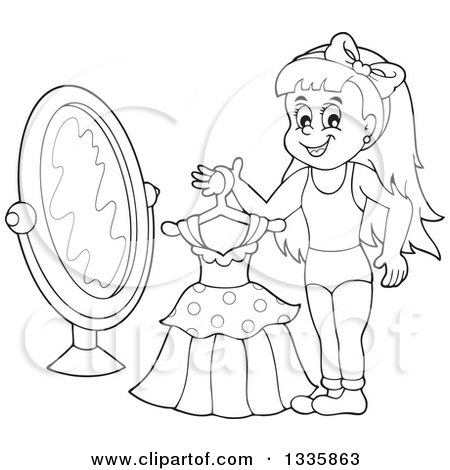 450x470 Clipart Of A Cartoon Black And White Happy Girl Holding A Dress