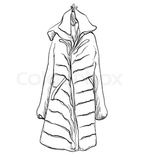 289x320 Coat With Fur Collar On Hanger, Sketch For Your Design Stock