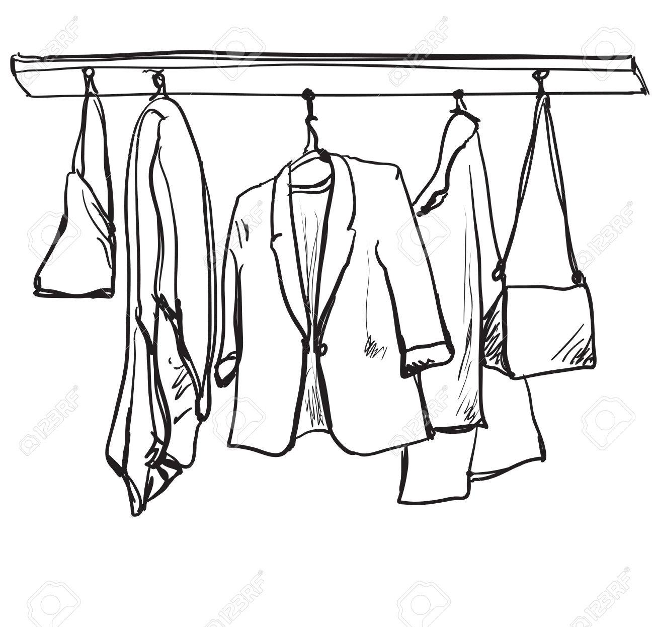 1300x1246 Hand Drawn Illustration Sketch. Fashionable Clothes On Hangers