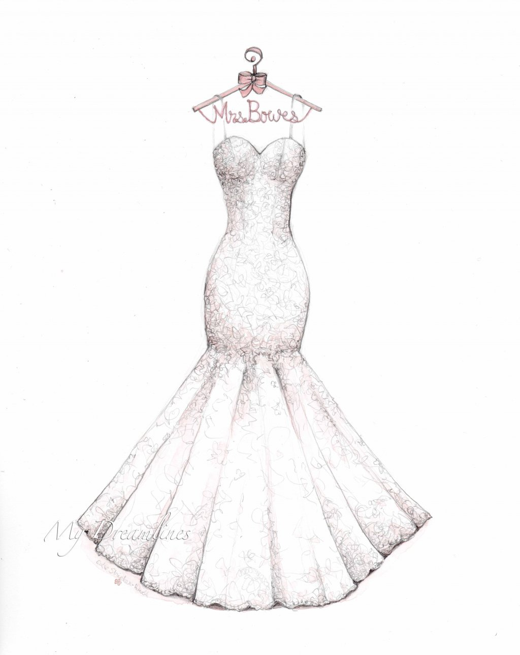 1024x1288 Lace Mermaid Wedding Dress Sketch With Decorative Hanger By Catie