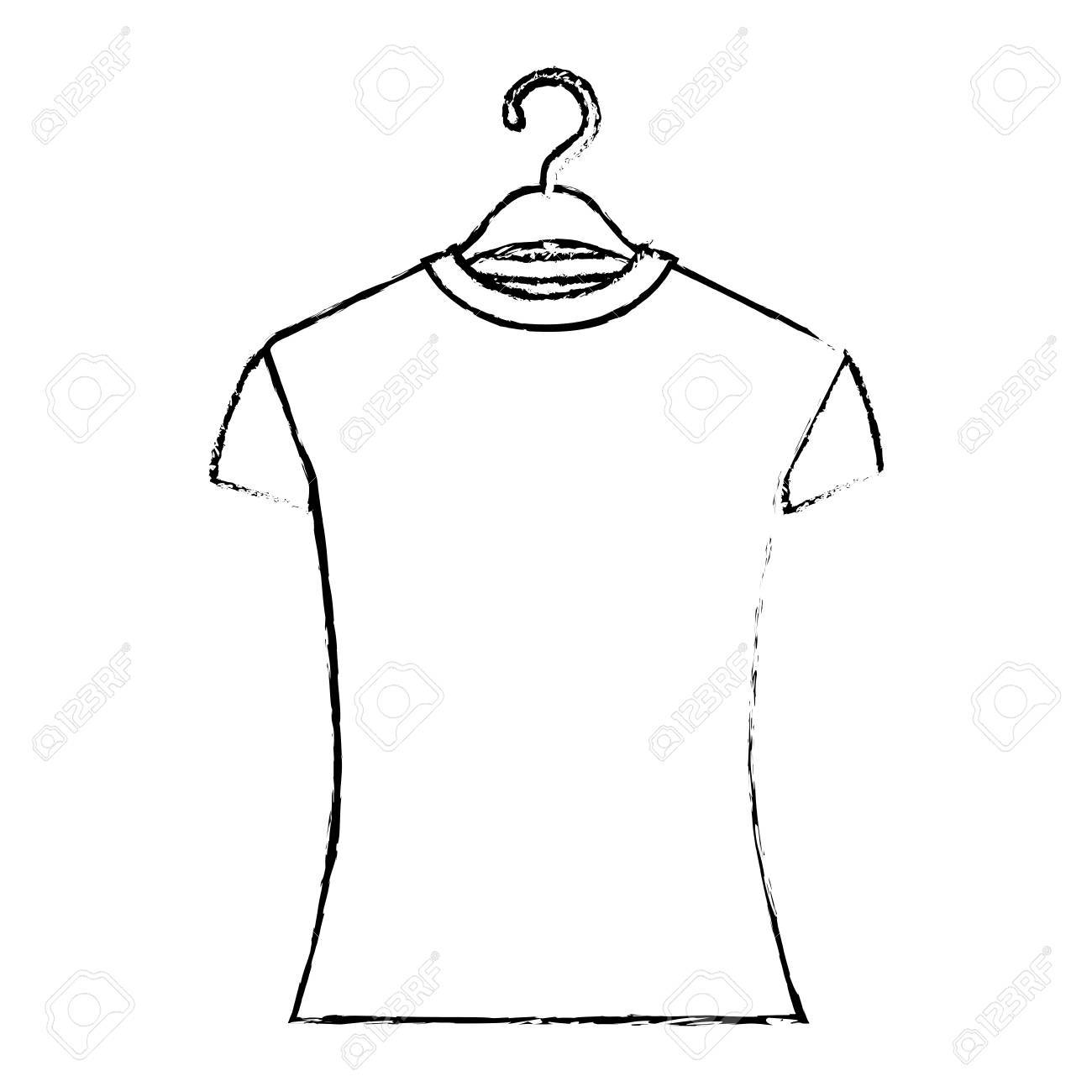 1300x1300 Monochrome Blurred Silhouette Of Woman T Shirt In Hanger. Royalty