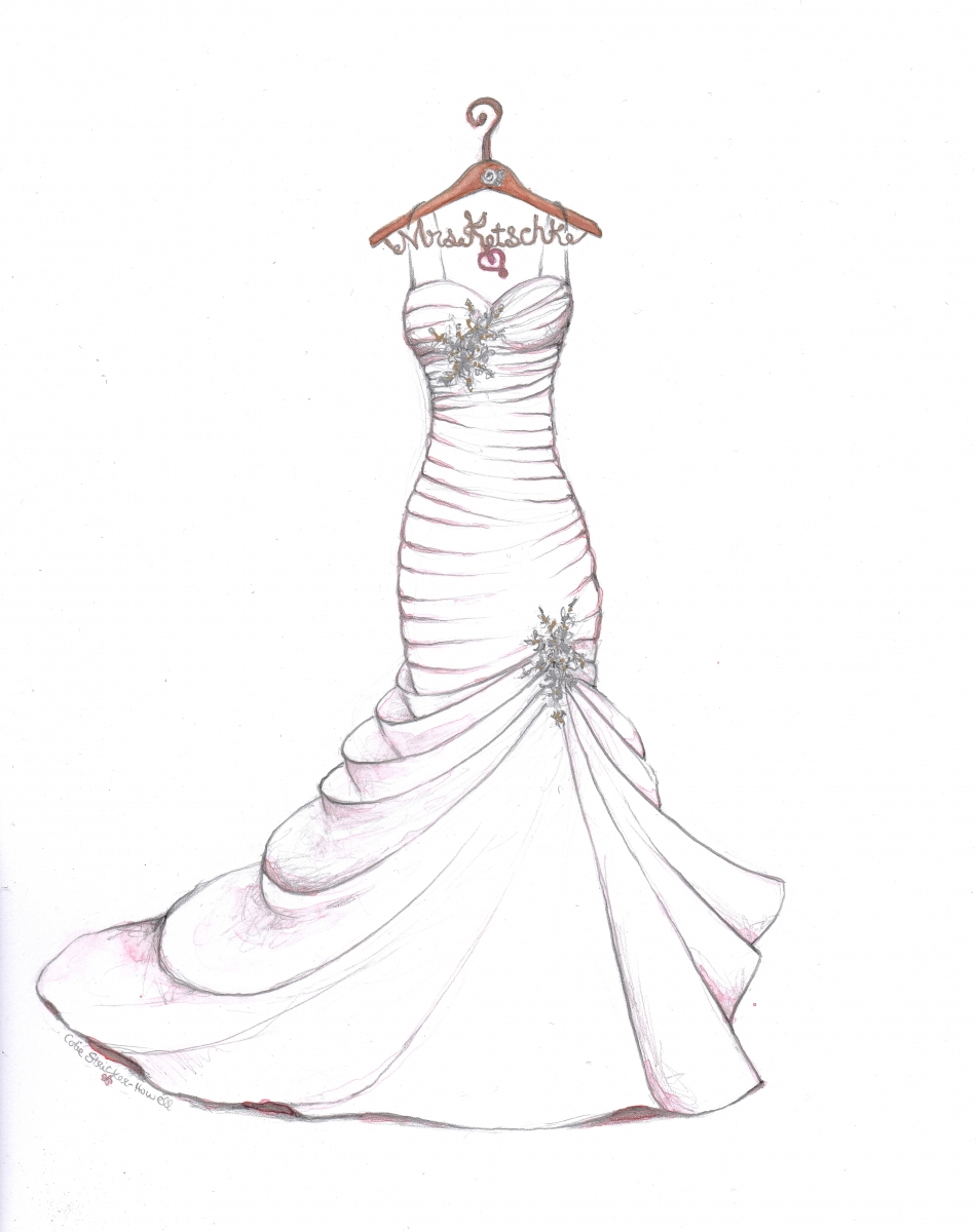 950x1200 Wedding Dress Sketch With Personalized Hanger By Catie Stricker