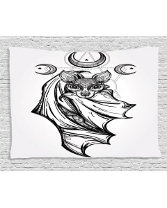 240x300 Gray Tapestry Bat With Moons Spiritual Printed Wall Hanging