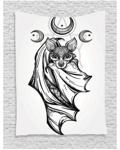 240x300 Tapestry Bat With Moons Spiritual Printed Wall Hanging