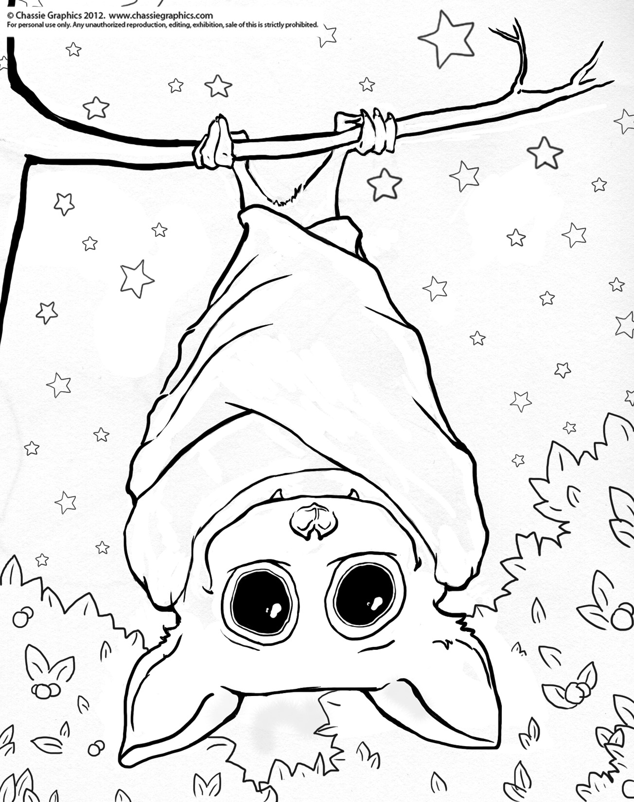Hanging bat drawing at free for personal for Coloring pages of bats