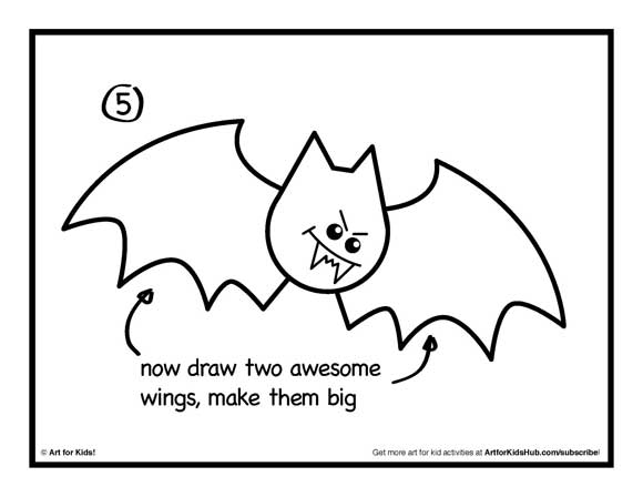 580x448 How To Draw A Bat Step 5 School Bats And Craft