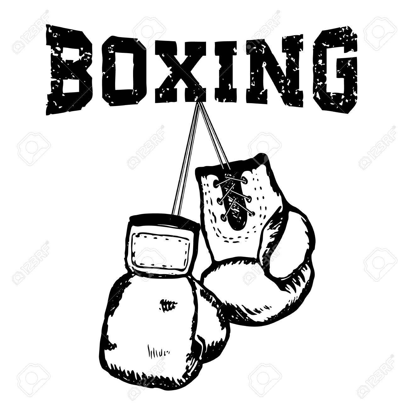 1300x1300 Hand Draw Style Boxing Gloves. Grunge Style Vector Illustration