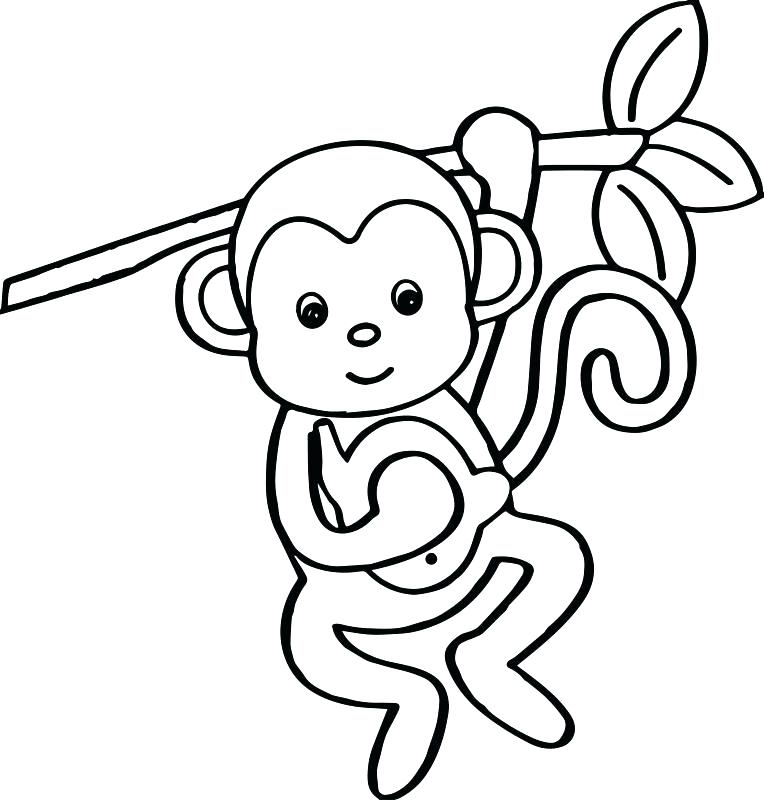 764x800 Monkey Coloring Pages For Preschoolers Humorous Draw Pict Cartoon
