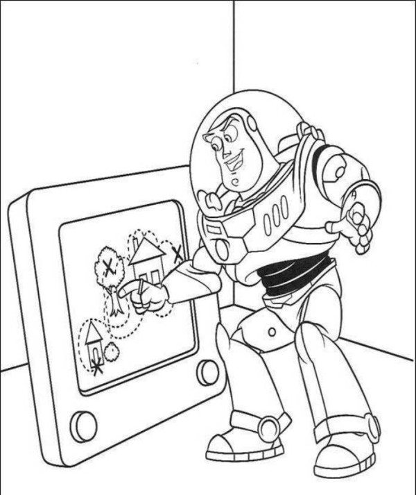 600x713 Toy Story 2 Buzz Hanging On Truck Coloring Pages Preschool