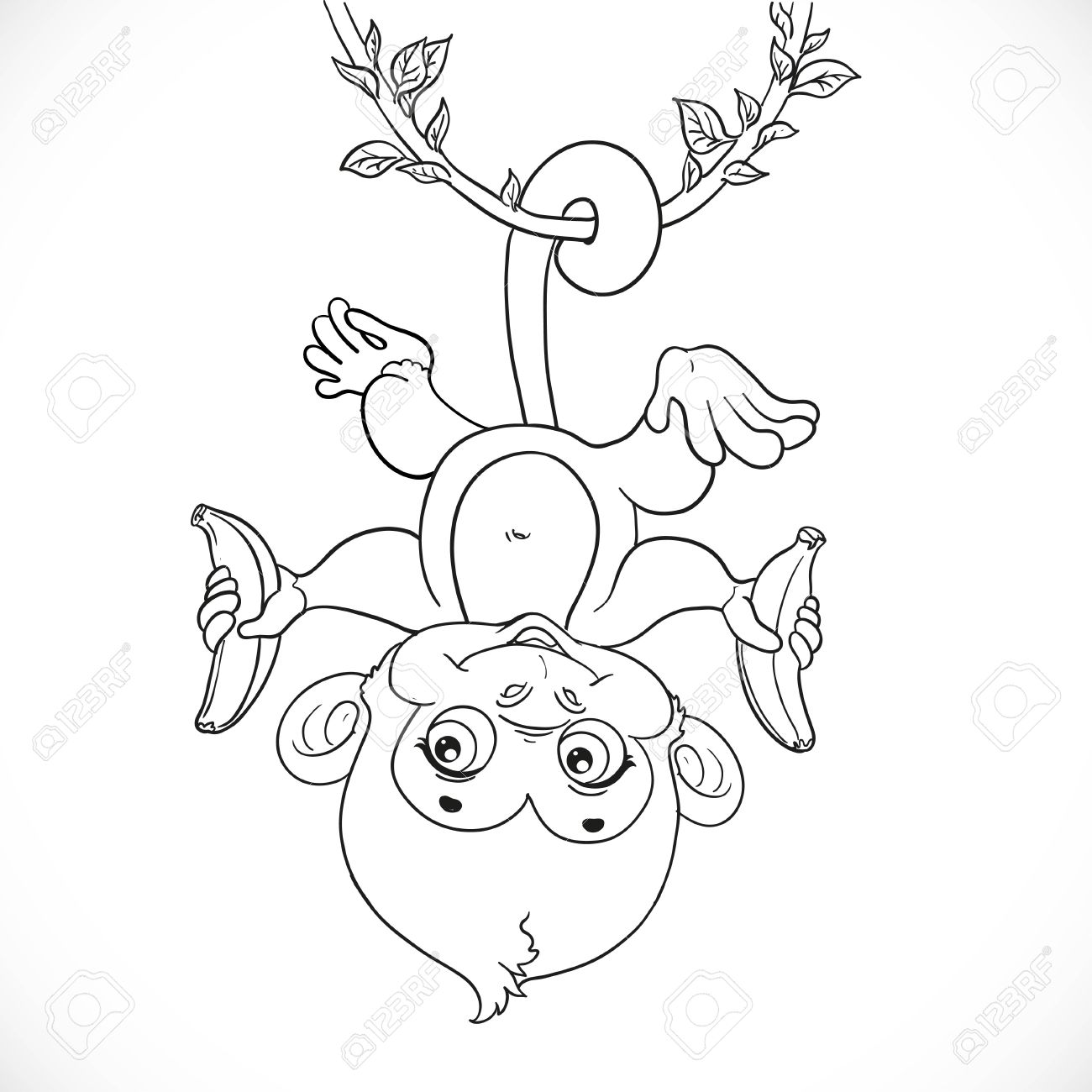 1300x1300 Cute Baby Monkey With Banana Hanging On The Liana Outlined