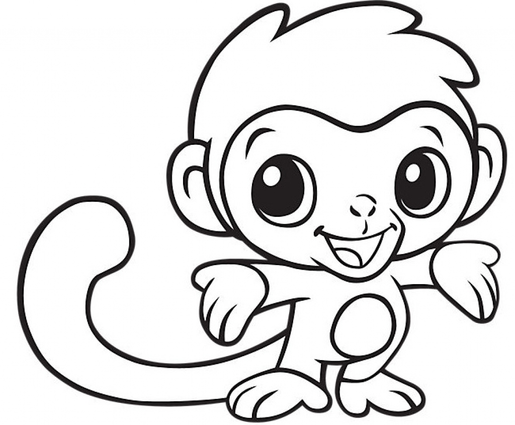 1024x845 Monkey Coloring Pages Funny Eating Banana Coloringstar