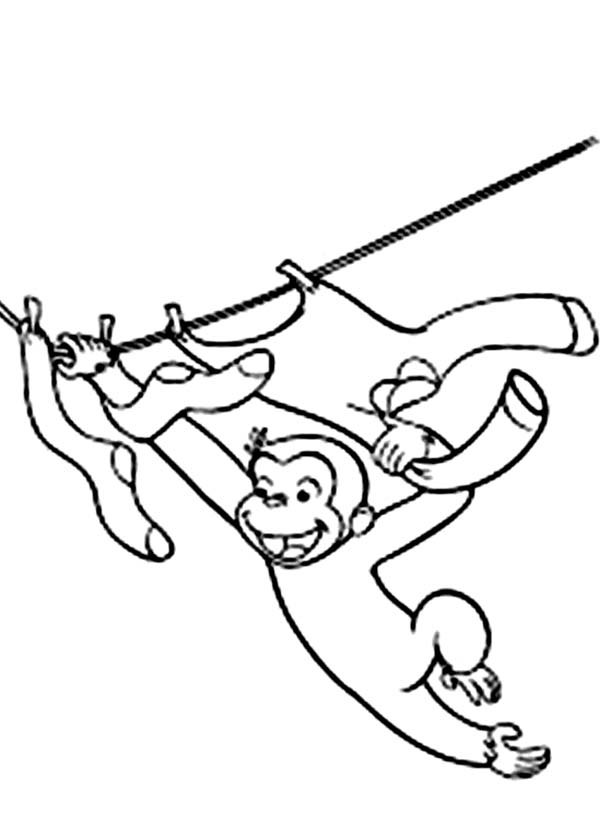 600x840 Curious George Hanging On Rope Coloring Page