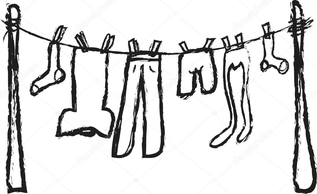 1023x626 Doodle Shirts Hanging On Rope Stock Photo Dusan964