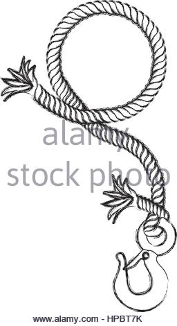 256x470 Monochrome Contour Hand Drawing Of Hanging Rope With Metal Hook