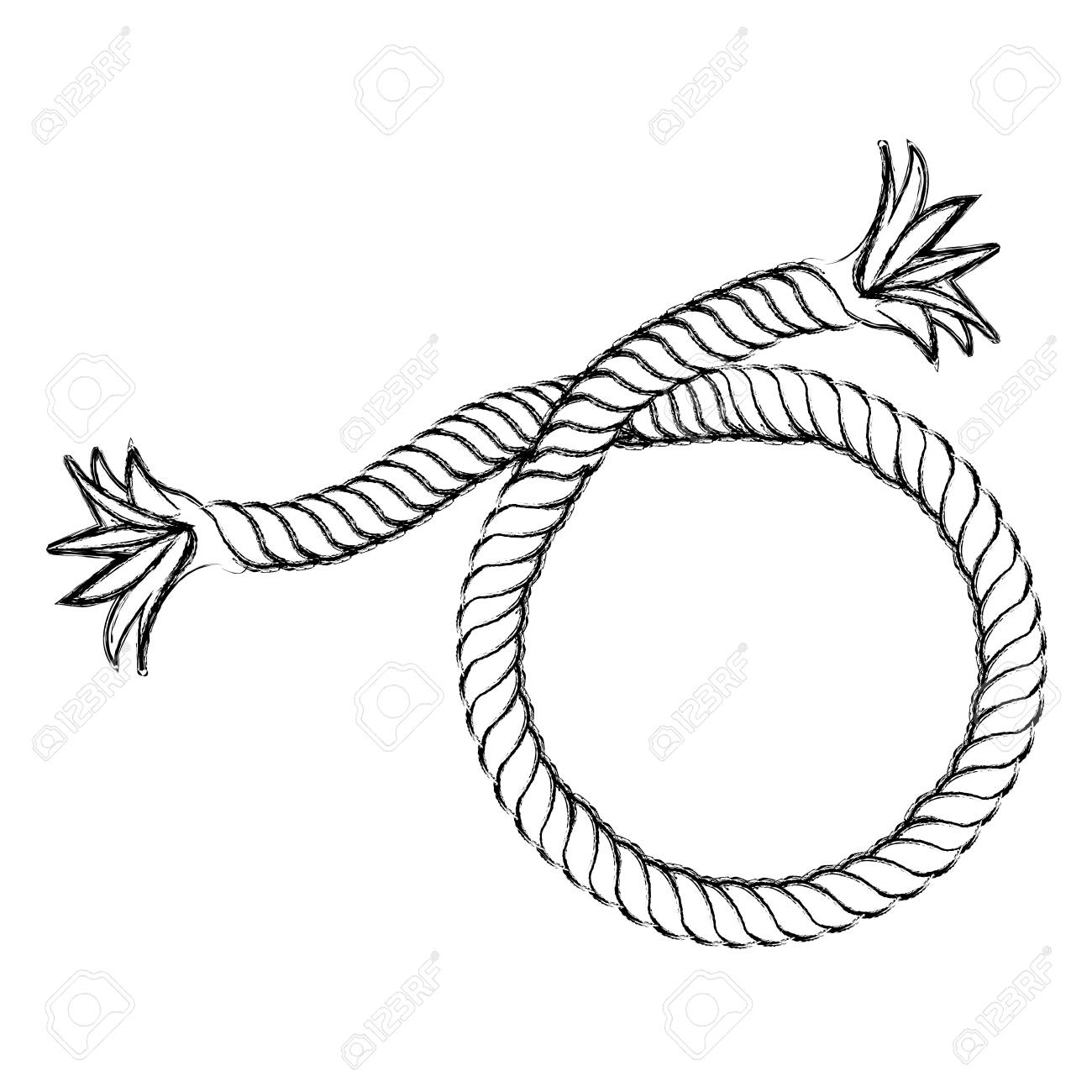 1300x1300 Monochrome Contour Hand Drawing Of Nautical Break Rope Vector