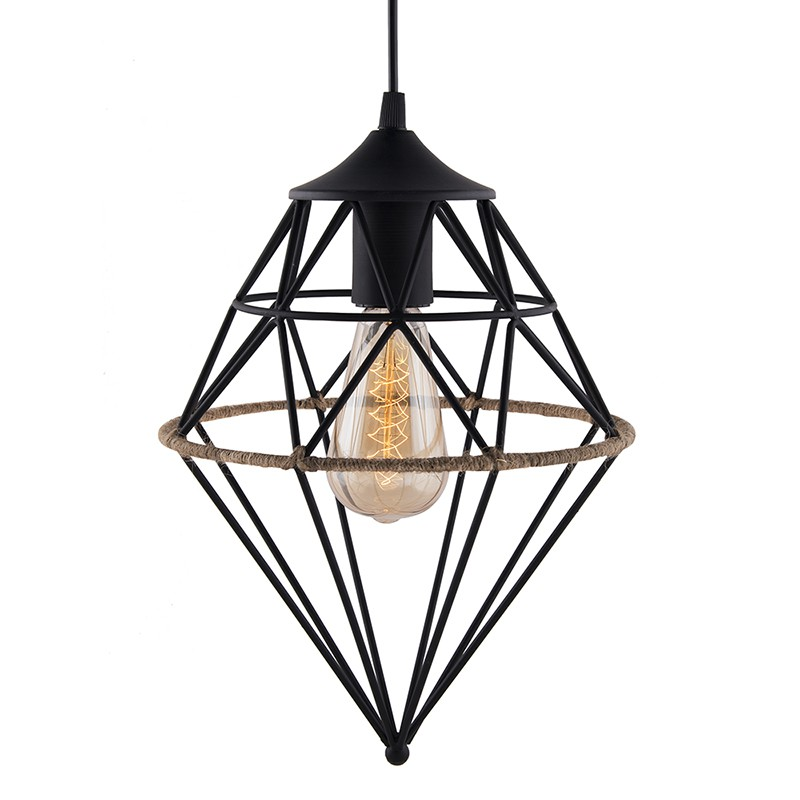 800x800 Vintage Edison Filament Hanging Hemp Rope Gem , E27 Hanging Light