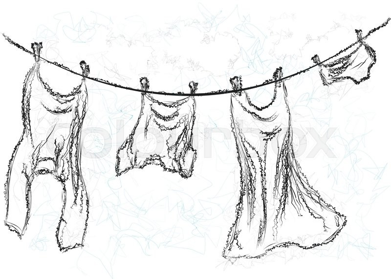 800x572 Washing Line. Clothes Hanging On A Rope Stock Vector Colourbox