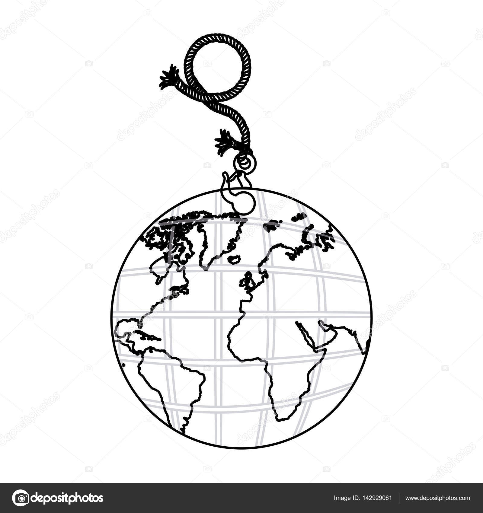 1600x1700 Contour Planet Earth Hanging Rope Icon Stock Vector