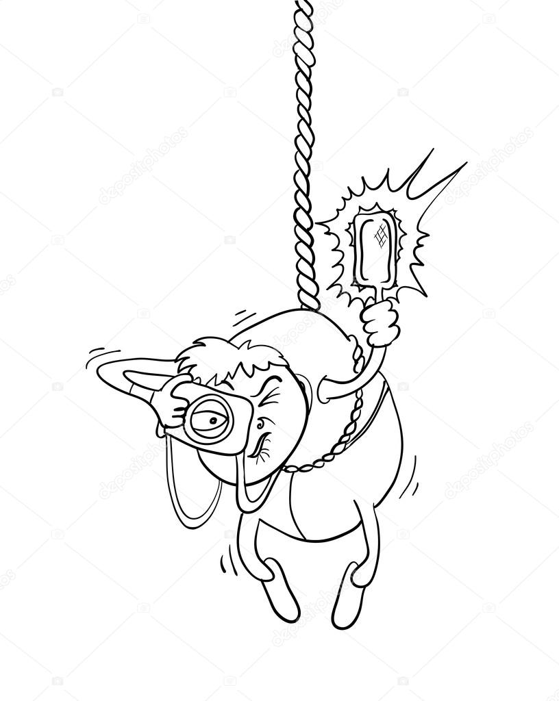 816x1024 Paparazzi Photographer Hanging On A Rope, Vector Illustration