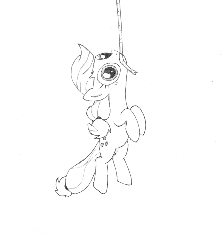 900x940 Applejack Hanging From A Rope By Logicae