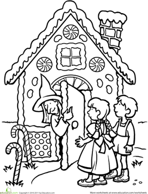 301x395 Color The Hansel And Gretel Scene Activities, Google And Fairy