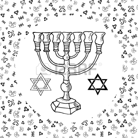 450x450 Hand Drawn Sketch Of Traditional Jewish Religious Symbols, Hand
