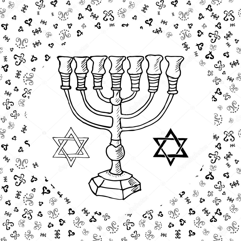 1024x1024 Hand Drawn Sketch Of Menorah Traditional Jewish Religious Symbols