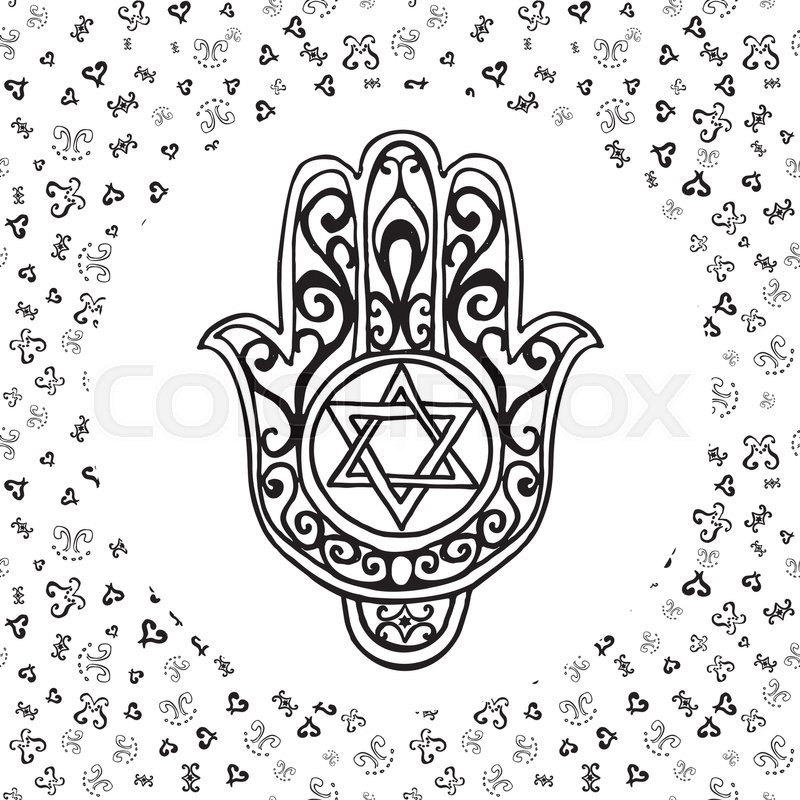 800x800 Hand Drawn Sketch Traditional Jewish Religious Symbols, Hand