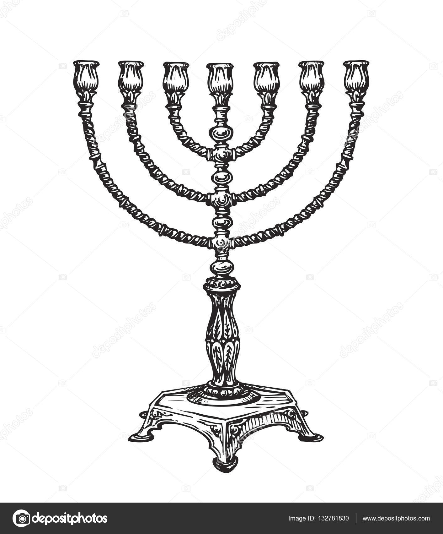 1412x1700 Menorah For Hanukkah. Sketch Vector Illustration Stock Vector