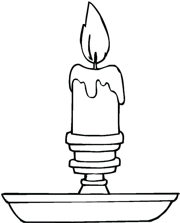 600x744 Candle Coloring Simple Candle Coloring Pages Hanukkah Candle