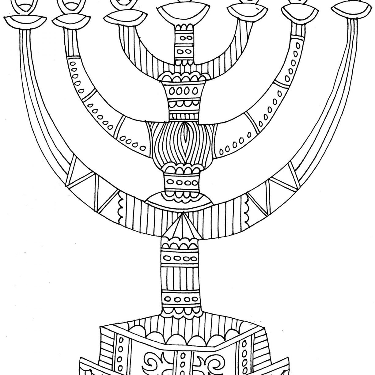 1224x1224 Coloring Pages For Hanukkah Menorah Candles Menor On Incredible