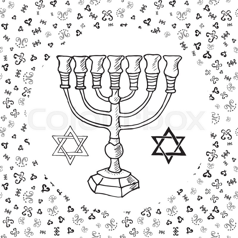 800x800 Hand Drawn Sketch Of Menorah Traditional Jewish Religious Symbols