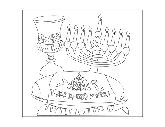 570x440 Hanukkah Coloring Pages Menorahs