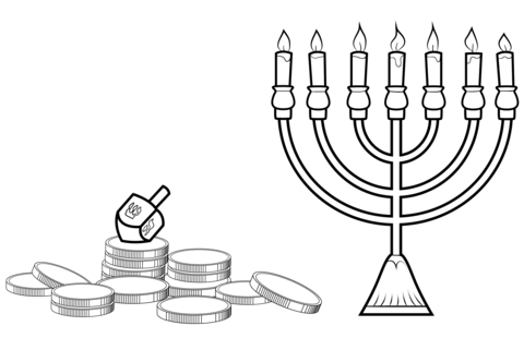480x332 Hanukkah Menorah, Dreidel And Gelt Coloring Page Free Printable