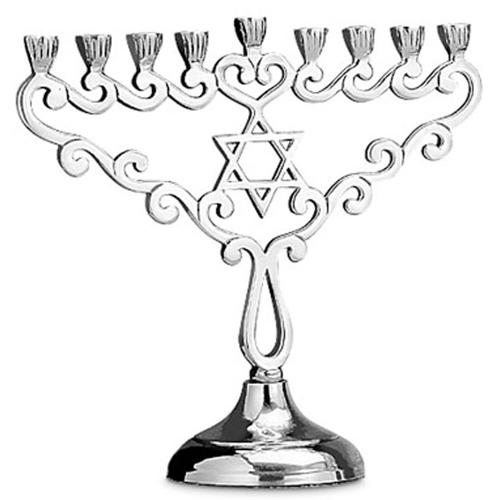 720x720 Aluminum Menorah With Star Of David