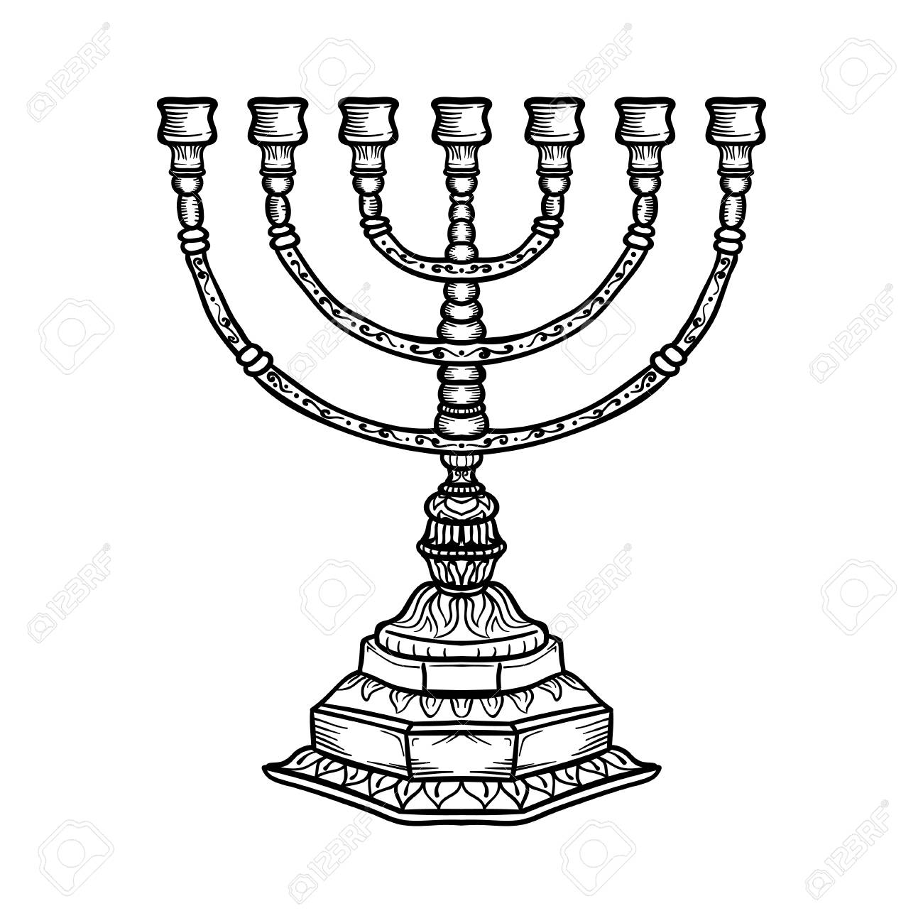 1300x1300 Jewish Religious Symbol Menorah Isolated On White Background