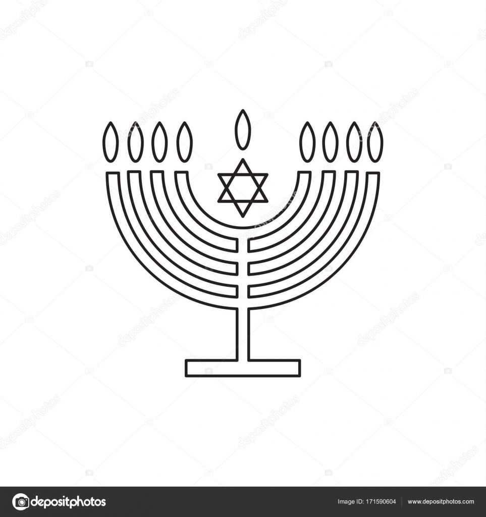 963x1024 Menorah Jewish Holiday Hanukkah Logo With Traditional Chanukah