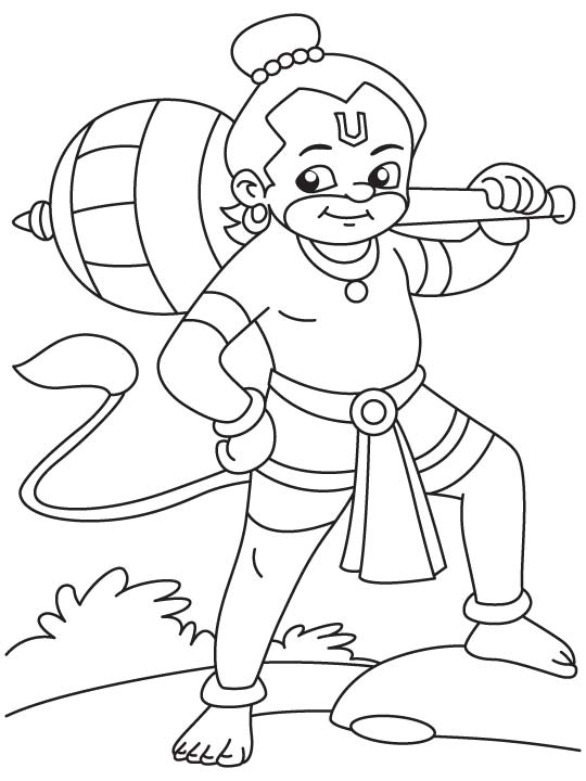540x720 Happy Baby Hanuman Coloring Page Download Free Happy Baby