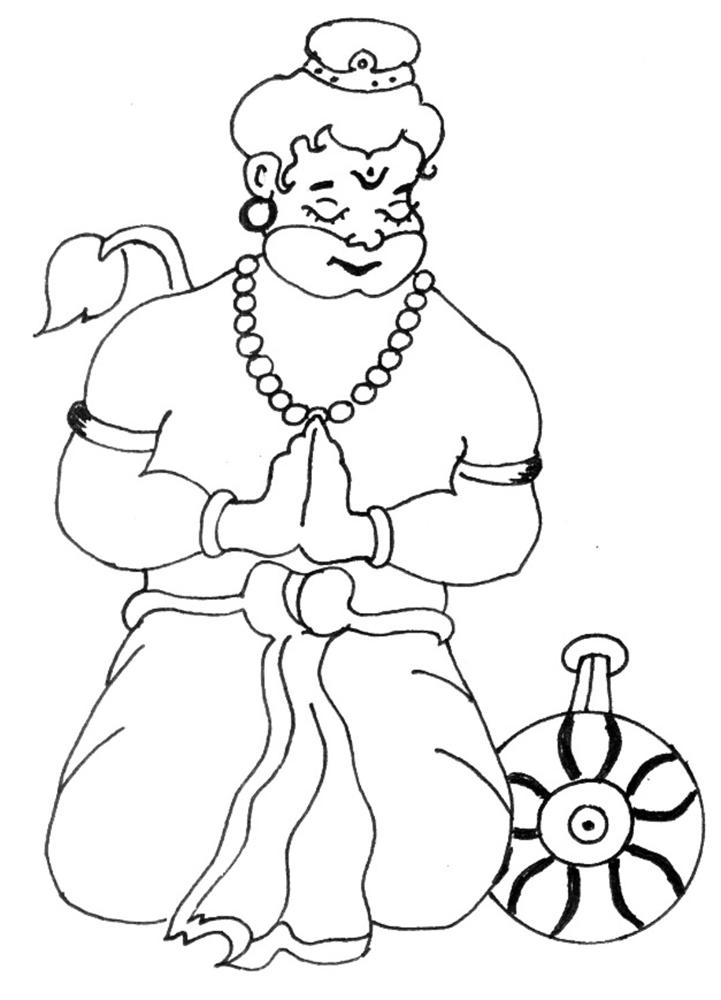 721x1000 Bal Hanuman Coloring Printable Page 1 For Kids