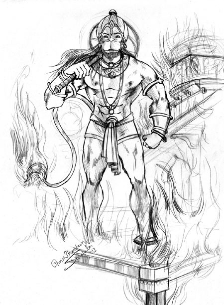 450x612 Best Hd Images Painting And Sketches A Painting Of Burning Lanka