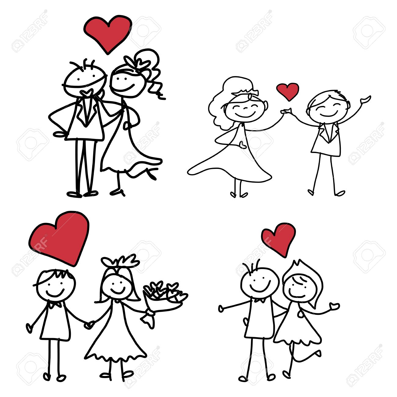 1300x1300 Hand Drawing Cartoon Character Happiness Wedding Royalty Free