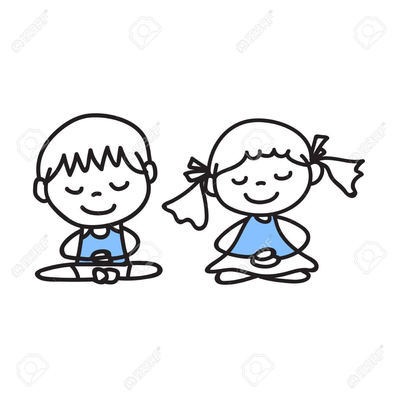 1300x1300 Hand Drawing Cartoon People Meditation With Happiness And Smiling
